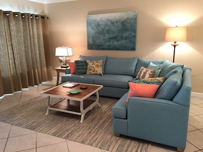 Spacious Living Room with Queen Sleeper Sofa. Opens to Gulf Front Balcony