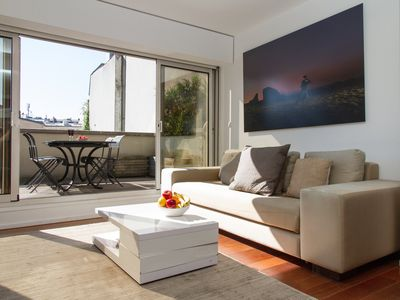 Photo for MODERN 3 BEDROOM MARAIS FLAT WITH HUGE TERRACE CLOSE TO THE POMPIDOU CENTER