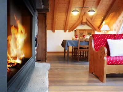 Photo for Wifi, 300m from shops, 1st floor, fireplace or stove, parking, tv, ski locker, 55m², Valloire