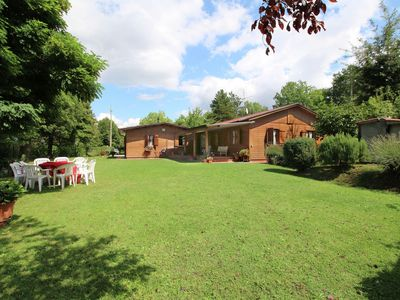 Photo for Chalet with private pool and large garden, in the hills surrounded by forests