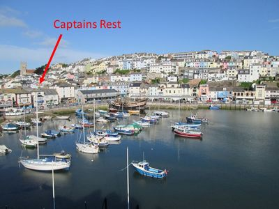 Captain's Rest viewed from Brixham Harbour - only a few steps away...