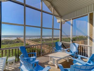 Photo for Oceanfront Screen Porch, 3 Blocks to Downtown Folly Beach - New To Rental Program!