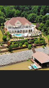 Photo for Lake Gaston Large Luxury Home On Main Lake, In-ground Pool, Boat Dock, Sleeps 24