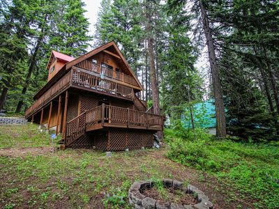 Photo for Cozy, dog-friendly cabin w/ a private hot tub, decks, & mountain views