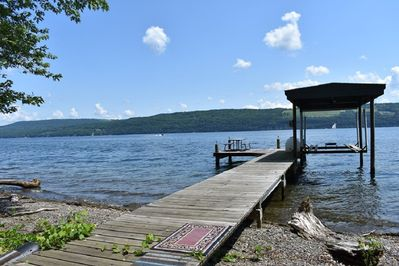 The dock can accommodate our guest's boat