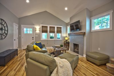 Living area, windows make it bright and cheery.