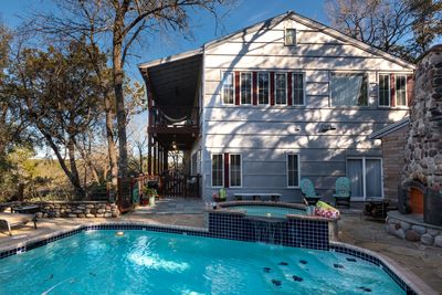 Private Pool w/large HotTub,Adjacent large Fireplace, plenty of loungers/seating
