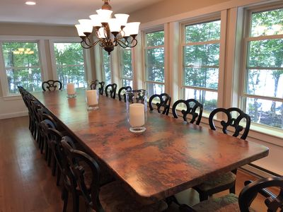 dining table with view of our waterfront
