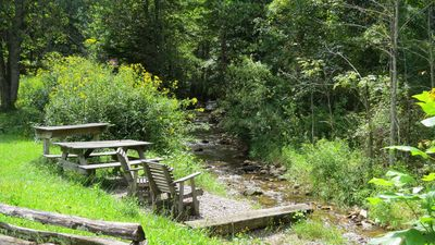 Picnic table and chairs overlook the trout stream. Firewood provided.