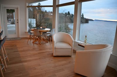 The sitting and eating area in the kitchen - it's all about the view.