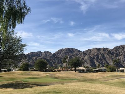 Beautiful view of the Stadium Course 1st Hole Green with Santa Rosa Mountains.