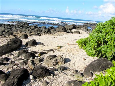 Private Beachfront on Large Estate and often has nice tide  pools to enjoy.