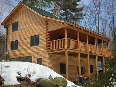 Photo for Log Home situated near Lovell Lake with private beach area.