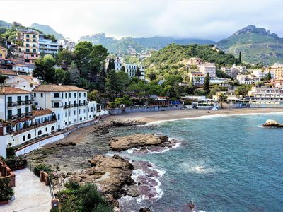 Photo for Taormina - Seafront Home with Private Beach and Terrace, Private Parking