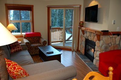 Warm and cozy living space.