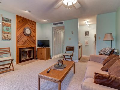 Photo for NEW LISTING! Studio condo w/wood fireplace-shared indoor/outdoor pool, gas grill