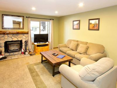 Photo for Cozy & bright condo on shuttle route, WiFi, shared pool, sauna- perfect for families