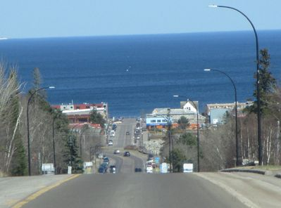 View of Grand Marais when arriving in town.