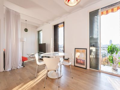 Photo for Bright apartment with views of the port with balcony in Barceloneta for 2