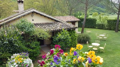 """Photo for Farmhouse with swimming pool and whirlpool for holidays in Umbria: """"Apartment Mustard"""""""