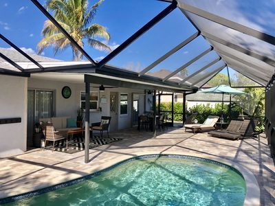 Photo for Updated home, Heated, salt water pool; one mile to the beach. 100% Owner Managed