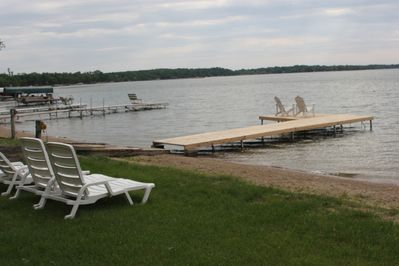 Relax on the shore or either of the two docks that are a part of the property