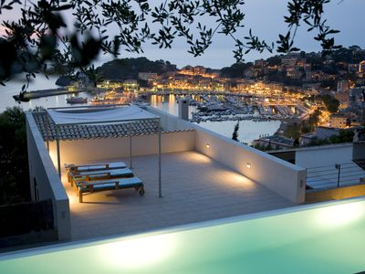 Photo for mediterranean, modern villa with pool at the harbour of Sóller