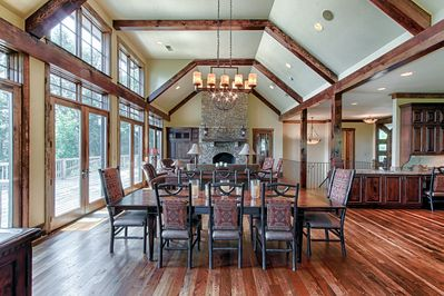 Dining Room, Living Room with Gas Fireplace all Overlooking the Mountain View