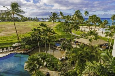 Lanai view of Lagoon, ocean Beach Bar and Lagoon Pool