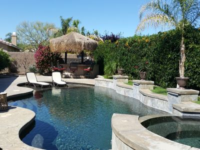 Photo for 4 bdrm Oasis new reno with Pool/Spa, gas BBQ with Palapa