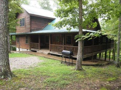 Photo for Secluded 3 BR, 2 BA  luxury cabin with pond.  Completely updated.