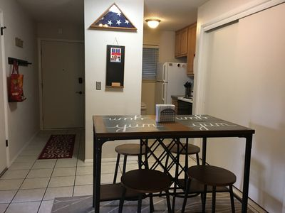 Entryway with kitchen and dining area.  Your home away from home