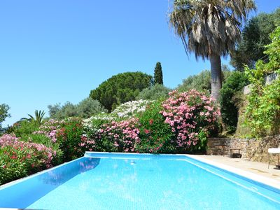 Photo for Overflowing pool and sea view for this old house in the village of Bormes
