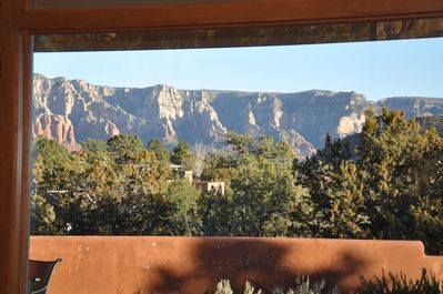 View of Mogollon Rim from patio, kitchen and great room