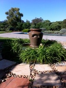 The fountain where the birds love to drink and bathe.