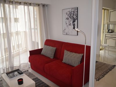Photo for Large 32m2 studio, sea view balcony, square Mistral, 100m from the sea