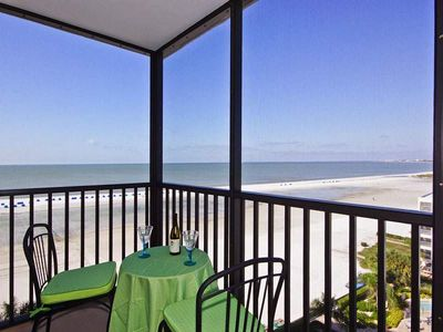 Photo for Summer Sale! 25% off! BREATHTAKING SUNSET GULF VIEWS AWAIT AT ISLAND WINDS! Click for reviews! 1,378 sq ft  plus 3 screened Lanais. Relax in total comfort!  FREE WIFI, CENTRAL AIR, FULL-SIZED WASHER AND DRYER IN UNIT