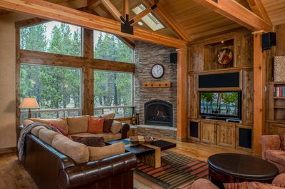 Great Room with surround sound system and gas fireplace.