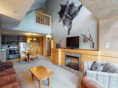 Photo for NEW LISTING! Rustic condo w/ shared hot tub and pool - ski-in/out location!