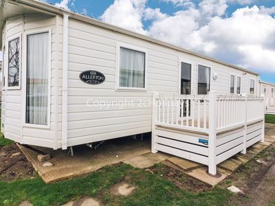 Photo for 8 berth caravan for hire  with decking to hire at California Cliffs ref 50064G