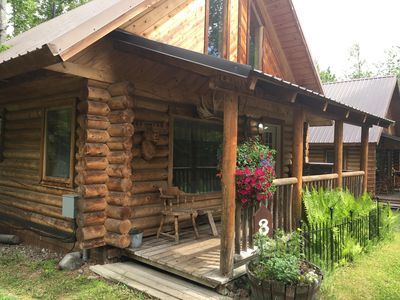 Photo for Two bedroom log house in a beautiful quiet peaceful setting.