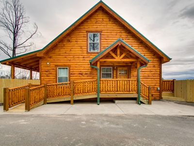 Photo for Newly Built 2018. 3 Bedroom Cabin with Beautiful View, Hot Tub, Wifi & Gas Grill