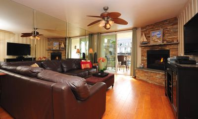 Family room with remote control gas fireplace
