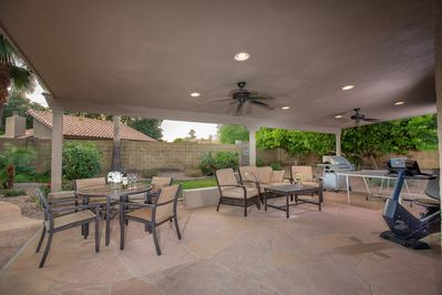 Patio with barbecue and table tennis