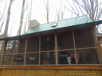 Back screened in porch with nature views, not far from Tims Ford Lake
