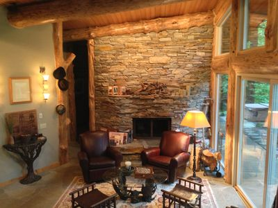 The floor-to-ceiling feature fireplace is truly a work of art.