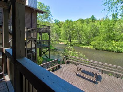 Photo for Dog-friendly, waterfront condo w/ full kitchen, furnished deck, & river views