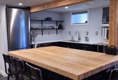 Large kitchen island with ample seating and work space.