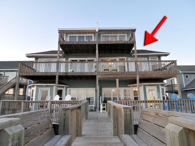 View from the Beach DUPLEX ON RIGHT, three spacious decks to view the ocean!