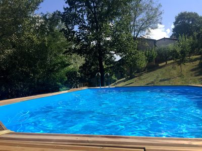 4 by 8 mt large pool with pre-heated ater from our solar pannels